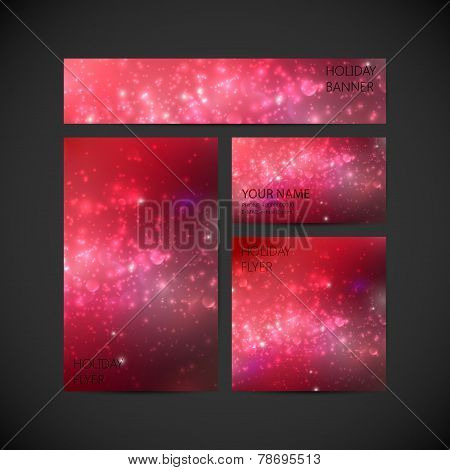 set of vector visual corporate identity with red holiday shiny b