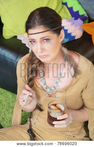 Crying Woman With Whiskey