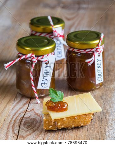Onion Pineapple Chutney On Rustic Wood