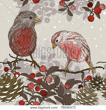 Christmas Seamless Pattern With Winter Birds