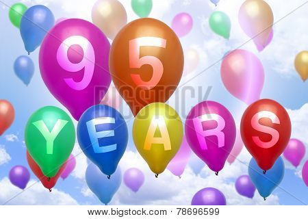95 Years Happy Birthday Balloon Colorful Balloons