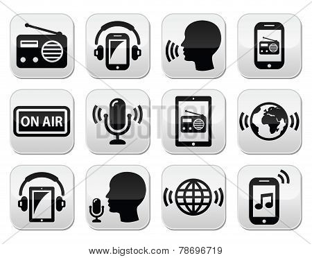 Radio, podcast app on smartphone and tablet buttons set