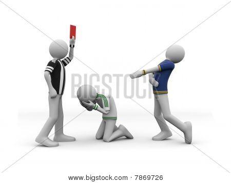 adjudicator showing red card