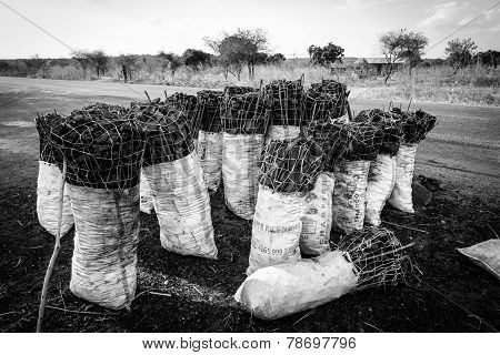 Bag Of Charcoal Along The Road In Africa
