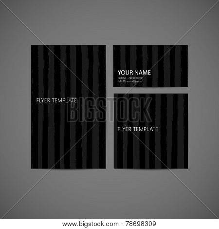 set of vector visual corporate identity with brushed stripes tex