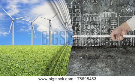 Hand Pulling Open Wind Turbines Curtain Covering Gray Cityscape Doodles