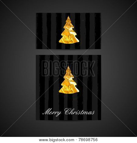 vector illustration of a Xmas greeting cards with golden foil Ch