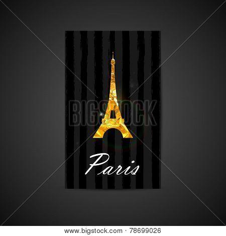 Vector elegant illustration of black card with golden foil Eiffe