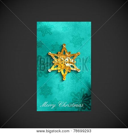 vector illustration of Christmas holiday postcard with golden fo