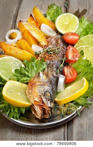 Grilled Fish On Wooden Table