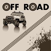 image of skid  - Off road car and tire tracks - JPG