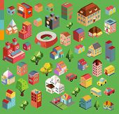 picture of colorful building  - Colorful vector isometric city and buildings collection - JPG