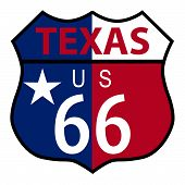 foto of texas state flag  - Route 66 traffic sign over a white background and the state name Texas with flag - JPG