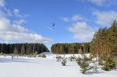 foto of rotor plane  - Large clearing in winter forest and a helicopter in the sky  - JPG
