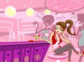 stock photo of boring  - fashion girl bored in night club illustration - JPG