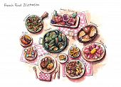 stock photo of escargot  - french food illustration escargot mussles foie gras duck and other delicious stuffs - JPG