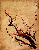 picture of cherries  - Sakura cherry blossom plum chinese brush painting Red cherry blossom chinese brush painting - JPG