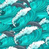 image of dolphins  - Waves flowing water sketch sea ocean and dolphins colored seamless pattern vector illustration - JPG