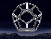 stock photo of dodecahedron  - Original illustration of an impossible dodecahedron in the night sky - JPG