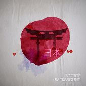 stock photo of japanese flag  - vector watercolor illustration of  traditional asian Japan gate on the old wrinkled paper background - JPG
