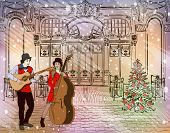 foto of christmas song  - Christmas street performers in a snowy city - JPG