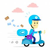 picture of postman  - Postman Delivering Mail By Driving Motorcycle  - JPG
