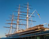 stock photo of sark  - View of the Cutty Sark in London one of the fastest sailing ships from the 19th century - JPG