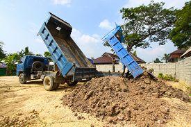stock photo of dumper  - dumper truck on construction site - JPG