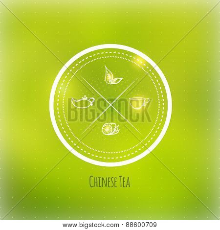Vector tea badge with leaves, lemon and cup on green blured background.EPS10