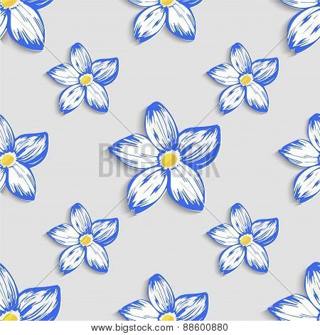 Seamless pattern with floral ornament. Vector
