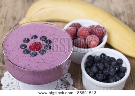 Smoothies Of Frozen Strawberries , Blueberries And Banana With Yogurt.