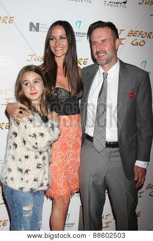 LOS ANGELES - FEB 20:  Coco Arquette, Christina McLarty, David Arquette at the