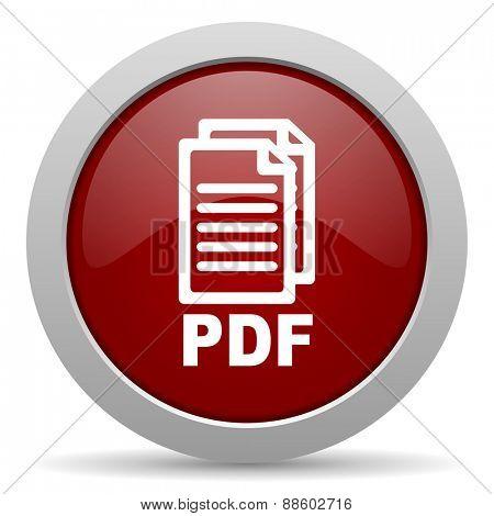 pdf red glossy web icon,