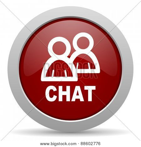 chat red glossy web icon