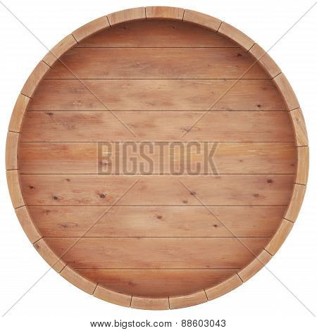 Wine, beer, whiskey, rum, barrel top view of isolation on a white background.