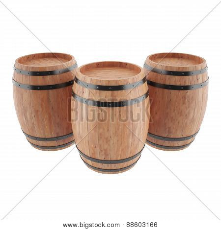 Wine, whiskey, rum, beer, barrels isolated on white background.