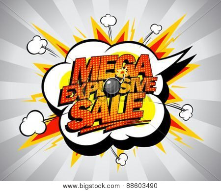 Mega explosive sale pop-art banner.