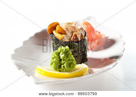 Spicy Mushrooms Gunkan Sushi. Garnished with Ginger and Wasabi