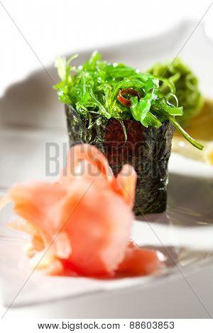 Chuka Seaweed  Gunkan Sushi Garnished with Ginger and Wasabi