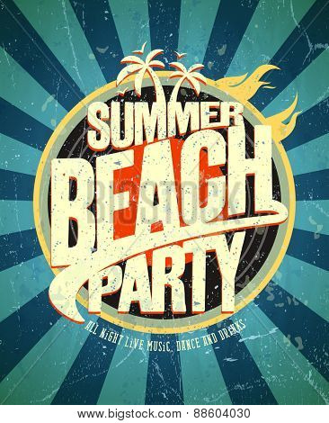 Summer beach party grunge poster.
