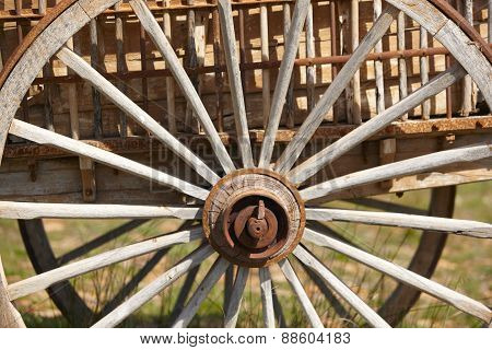 Old Rusty Cart Wheel Detail With Green Background