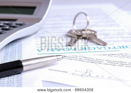 Calculation Of Mortgage Loan And Signed Agreement Front View