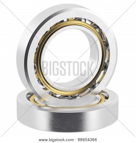 Isolated realistic bearings on a white background with light scratches.