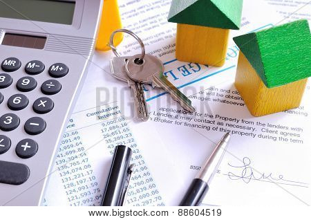 Calculation Of Mortgage Loan And Signed Agreement Top View