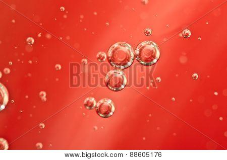 Air Bubbles In A Red Liquid