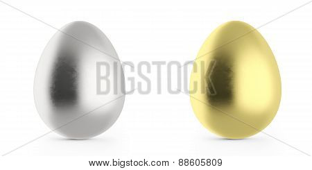 Set of Easter eggs, gold and silver.