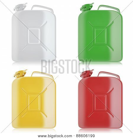 Set of yellow, white, green, red jerricans for fuel.