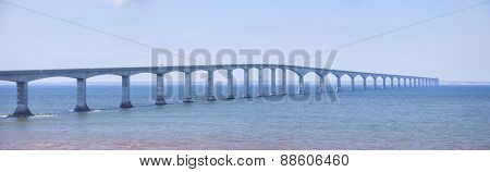 Panoramic view of Confederation Bridge from New Brunswick Canada.