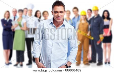 Young man near Group of business people team.
