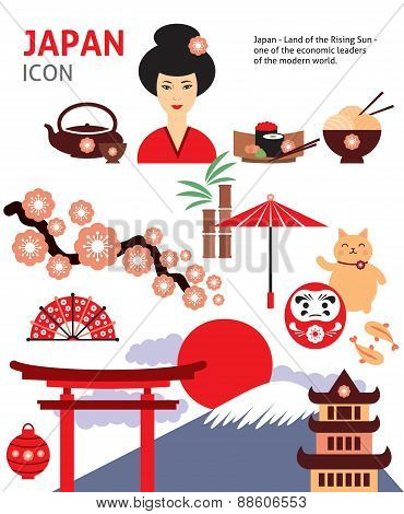 Japan vector symbols and icon